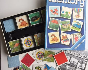 Vintage memory game, complete Ravensburger original memory game cards, 51 pairs from 1990
