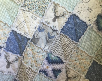 Baby Rag Quilt- Fawn- Woodland Theme Nursery- Baby Blanket- Antlers and Deer- Baby Quilt
