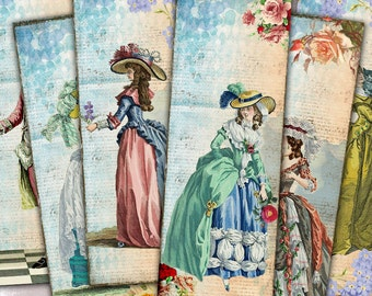 75% OFF SALE Vintage Fashion - Digital bookmark B005 collage sheet printable download image size digital image fashion collage hang tags