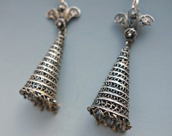 Antique Sterling Filigree Earrings