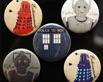 Doctor Who MAGNET Set - sci-fi MAGNETS - Tardis - Dalek - Cyberman Magnet Set doctor who gift doctor who present doctor who birthday