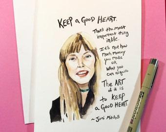 Joni Mitchell Portrait, Inspiring Quote 5x7 card, Ready to Ship