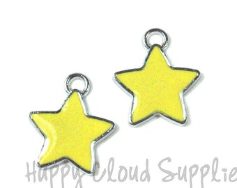 Sparkly Yellow Star Enamel Charms... 4pcs