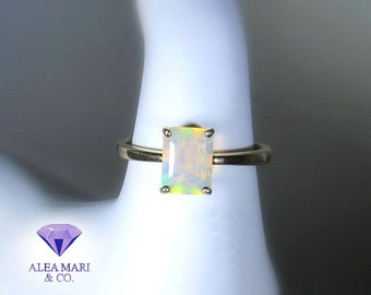 Opal Ring | 14kt | In Stock | Emerald Cut Ethiopian Ring | Size 6.5