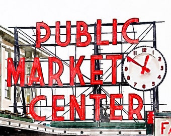 Instant Download Seattle Pike Place Public Market Sign, Printable Photo Art, High Resolution Digital Watercolor Painting