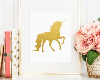 Unicorn print, printable wall art decor, gold foil unicorn print, minimalist art, faux gold foil unicorn art, home decor, bedroom decor JPG