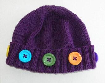 Purple Knit Button Hat / Purple Hand Knit Acrylic Hat