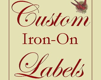 80 Custom Cotton IRON-ON Labels- Fabric Garment Tags with YOUR Logo