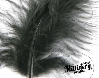 20 Fluffy Marabou Feathers for Millinery Hat Trimming & Crafts - Black