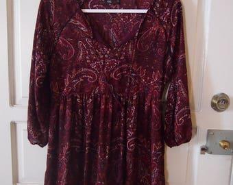 Vintage 90s paisley smock dress