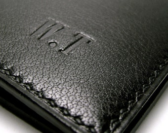 Black Leather Wallet   Luxury Leather   Personalized   monogrammed   Billfold Wallet   Hand Stitched