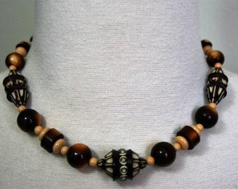 Vtg Galalith Czech Necklace Beaded 16 inch Statement Bold by Diamond
