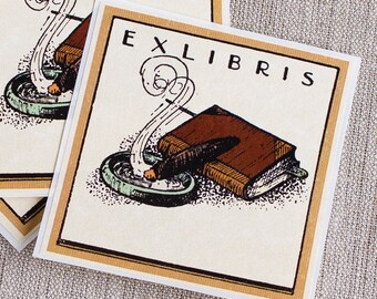 cigar bookplates - smoking book plates - Ex Libris - stogie bookplate stickers - gifts for book lovers - bookworm for him - tobacco gifts