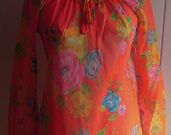 1980s Floral Roses Sheer Nylon NEON Blouse Shirt One Size Fits Most