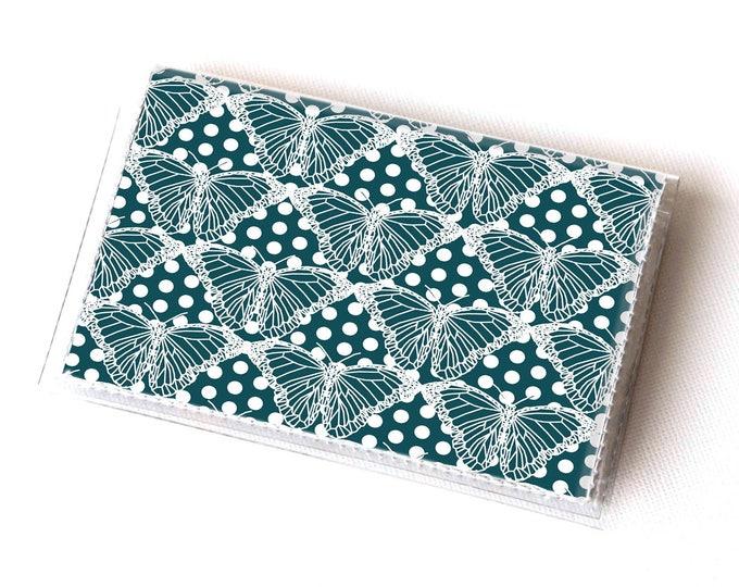 NEW Handmade Vinyl Card Holder - Butterflies Blue  / card case, vinyl wallet, women's wallet, small wallet, pretty, gift, cute, butterfly