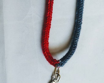 Knit lanyard, ID tag holder with claw closure