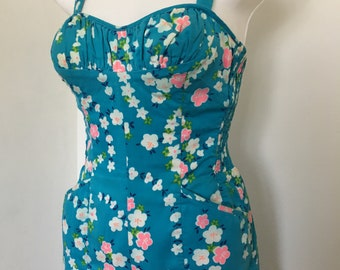 Miss Hawaii 1950's One Piece Swimsuit Romper Molded Cups Bright Blue Tropical Tiki 34 B