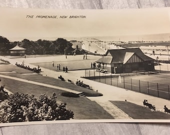 Vintage postcard, postcard, new Brighton postcard, vintage stamp, new Brighton card, promenade new Brighton postcard,