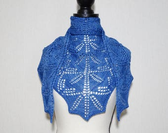 Blue hand knitted lace shawl ,blue merino lace shawl, triangle shawl, scarf, kerchief, gift for her
