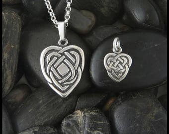 Celtic Knot Heart Necklace, Silver Maggie's Heart Knot Pendant, Celtic Love Knot Pendant in 2 Size Options