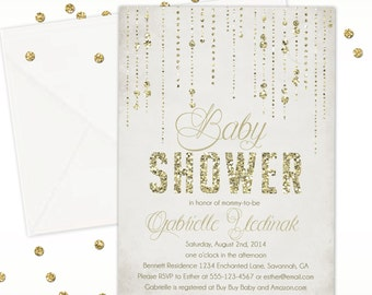 Gold Glitter Rain Baby Shower Invitation, Baby Sprinkle, Elegant Baby Shower Invitation, Custom Baby Shower Invitation, Gold Baby Shower