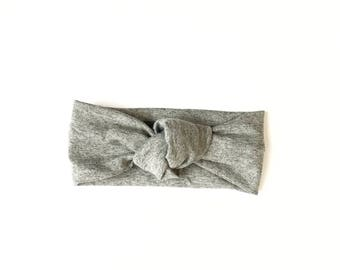 Baby Headwrap, Baby Girl Headwrap, Baby Knot Headband, Knotted Headband, Toddler Headwrap, Top Knot Headband, Baby . HEATHER GREY Top Knot