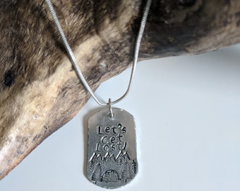 Let's Get Lost Dog Tag Necklace