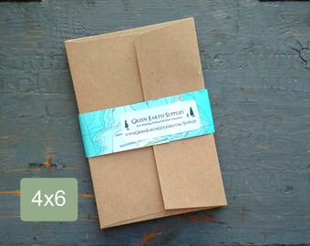 """100 4x6"""" Envelopes, 100% Recycled Kraft Brown Photo Card/Greeting Card Envelopes, true size: 4 1/4"""" x 6 1/4"""" (107.95 x 158.75mm), US Size A4"""