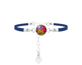 Fashion Bracelet - Navy Strap - Mixed flowers - Round by Shrieking Violet®