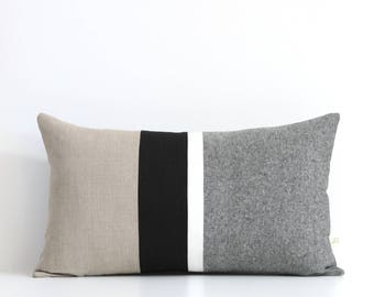 Black and White Chambray Striped Lumbar Pillow (12x20) Modern Home Decor by JillianReneDecor (Custom Colors Available) Black and White Linen