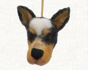 Australian Cattle Dog Hanging Ornament  Needle Felted Blue Heeler