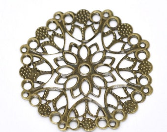 jewelry Bronze Filigree Flower Wraps Connectors 50mm  Round   findings  supplies (V9)  quantity 5