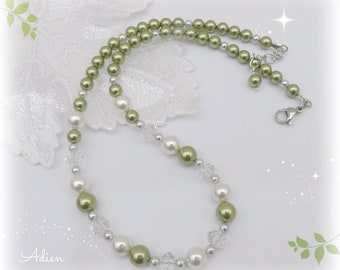 Green Pearl Necklace. Green and Cream Swarovski ™ Crystal Pearls, Summer Jewellery, Gift Idea for Her, Wedding Bridal Jewellery