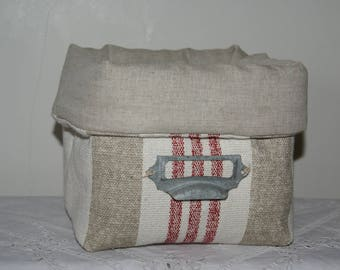 Fabric basket Organizer padded canvas beige and red, with label holder