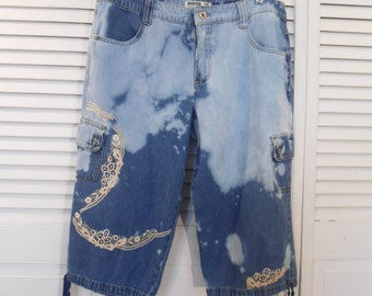 Capri Jeans, Lace, Patched, Bleached Jeans, Size 12, Waist 37, High Waisted, Upcycled Clothing, Beach Clothes, Hippie, Boho Bohemian