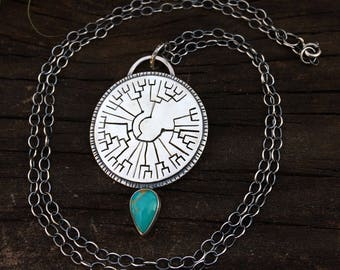 Evolution Cladogram Necklace. Chain 24 inches (can be adjusted smaller). Hand sawed. Turquoise.