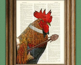 The Rooster Gentleman Art Print with bow tie and fancy cane beautifully upcycled vintage dictionary page book art print