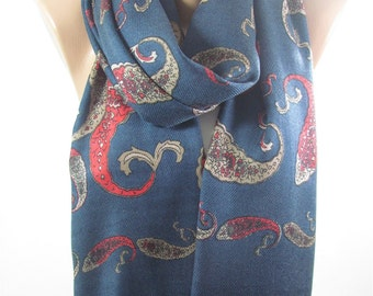 Paisley Scarf Navy Scarf Shawl  Winter Scarf  Fashion Accessories Holiday Gift   Gift  For  Derins Valentines Gift For Mom For Women Holiday