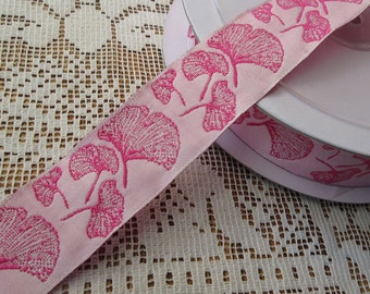 Wholesale Lot  19 Yards Ginkgo Leaf Reversible Trim Jacquard Ribbon 1 Inch Wide Pink INT-A
