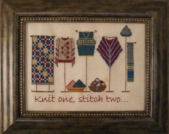 "Cross Stitch Instant Download Pattern ""Knit One, Stitch Two"" Counted Embroidery Chart. Knitware Shop Window design. X stitch. Motto."