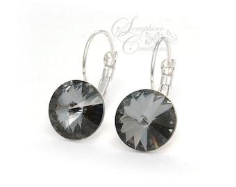 Dark Grey Crystal Earrings Swarovski Rivoli Silver Night Earrings Sparkly Bridal Bridesmaid Gift Bridal Bridesmaid Jewelry Charcoal K011
