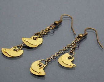 Steampunk Earrings- Upcycled Brass Clock Part Industrial Earrings, Steampunk Jewelry, Industrial Jewelry, Chain Earrings by Tanith Rohe