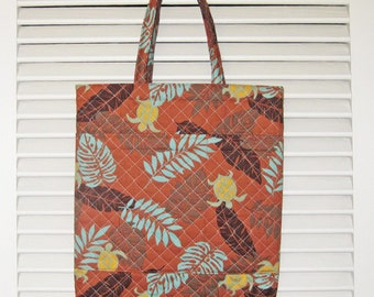 Hawaiian Monstera Leaves and Sea Turtles Design Handy Tote Quilted Fabric