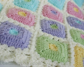 Puffy Patch Quilt Crochet Pattern Baby Blanket