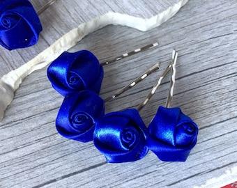 Royal Blue Flower Hair Accessories, Silver Hair Pins,Set of 8, Rose Hair Pins, Rose Hair Accessories, Silver Hair Pins, Bridal Hair Pins