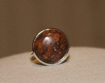 Leopardskin Jasper Ring Jasper Gemstone Ring Adjustable Stone Ring Brown Stone RIng Leopardskin Gemstone Ring
