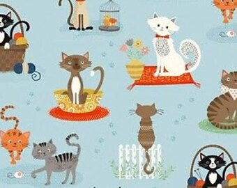 Fat Quarter Crafty Cats Spaced 100% Cotton Quilting Fabric Makower