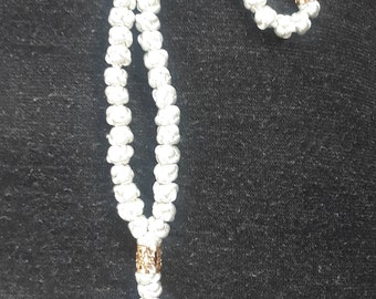 komboskini/orthodox prayer rope 50 knot- ivory gold bead