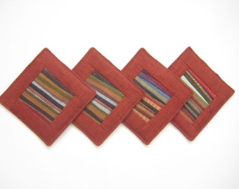 Red Coasters Quilted Coasters Mug Rug Fabric Coasters Patchwork Coasters Hostess Gift Housewarming Gift Set of 4