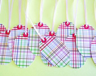Oval Shape Plaid Striped Gift Tags - Set of 12 Reinforced Hang Tags
